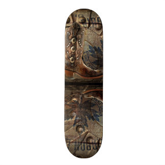 Steampunk gear western country cowboy boot skateboard deck