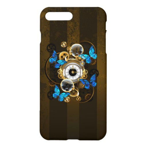 Steampunk Gears and Blue Butterflies iPhone 8 Plus/7 Plus Case