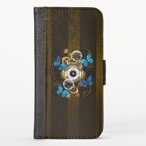Steampunk Gears and Blue Butterflies iPhone XS Wallet Case