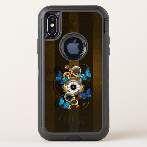 Steampunk Gears and Blue Butterflies OtterBox Defender iPhone X Case