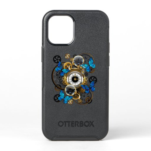 Steampunk Gears and Blue Butterflies OtterBox Symmetry iPhone 12 Mini Case