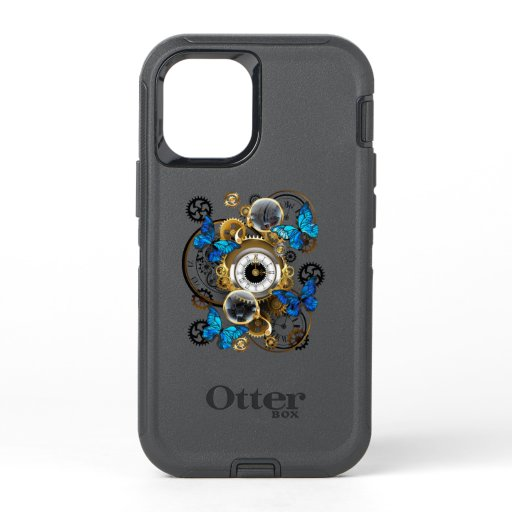 Steampunk Gears and Blue Butterflies OtterBox Defender iPhone 12 Mini Case