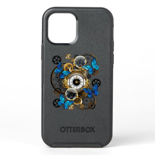 Steampunk Gears and Blue Butterflies OtterBox Symmetry iPhone 12 Pro Case