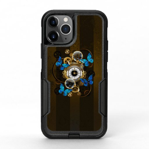Steampunk Gears and Blue Butterflies OtterBox Commuter iPhone 11 Pro Case