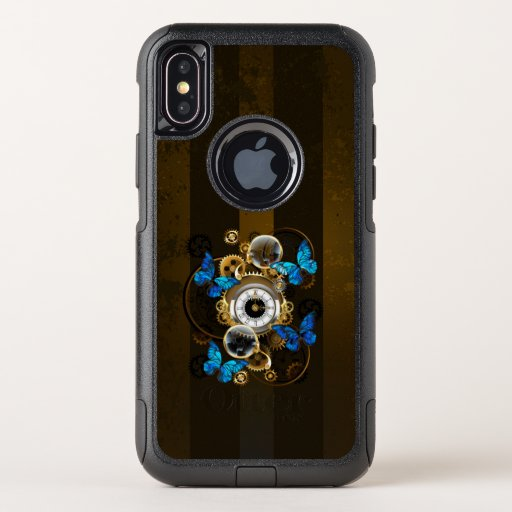 Steampunk Gears and Blue Butterflies OtterBox Commuter iPhone XS Case