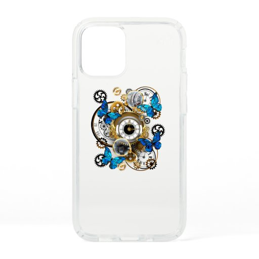 Steampunk Gears and Blue Butterflies Speck iPhone 12 Mini Case