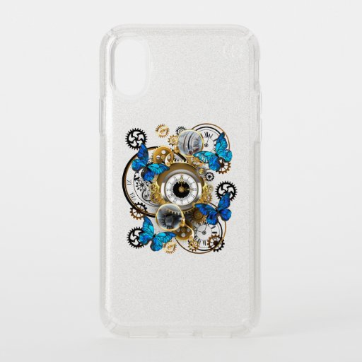 Steampunk Gears and Blue Butterflies Speck iPhone X Case