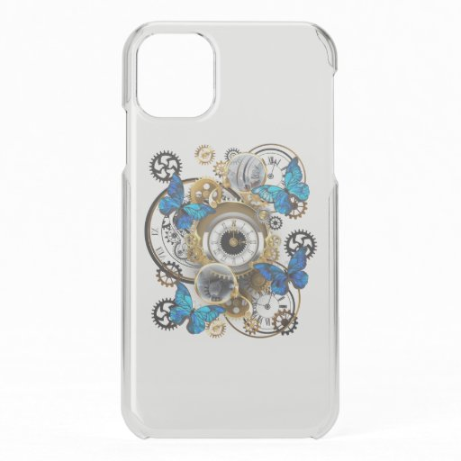 Steampunk Gears and Blue Butterflies iPhone 11 Case