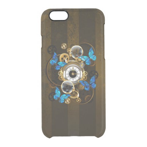 Steampunk Gears and Blue Butterflies Clear iPhone 6/6S Case