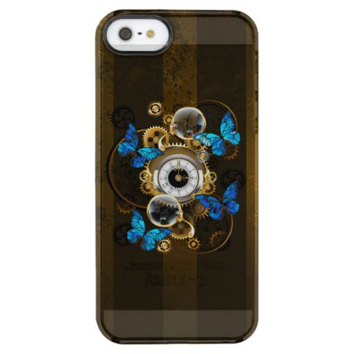 Steampunk Gears and Blue Butterflies Clear iPhone SE/5/5s Case