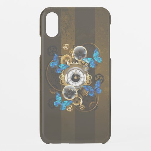 Steampunk Gears and Blue Butterflies iPhone XR Case