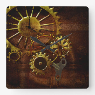 Steampunk Gears and Pipes Square Wall Clock