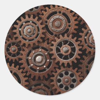 Steampunk Gears Classic Round Sticker