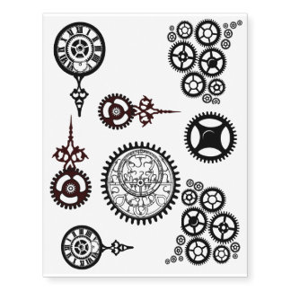 Steampunk Gears! Clock, Pocket watch temp tats Temporary Tattoos