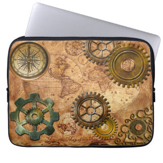 Steampunk Gears, Cogs, Brass Compass & Map Theme Computer Sleeves