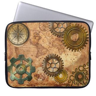 Steampunk Gears, Cogs, Brass Compass & Map Theme Laptop Sleeve