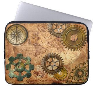 Steampunk Gears, Cogs, Brass Compass & Map Theme Computer Sleeves