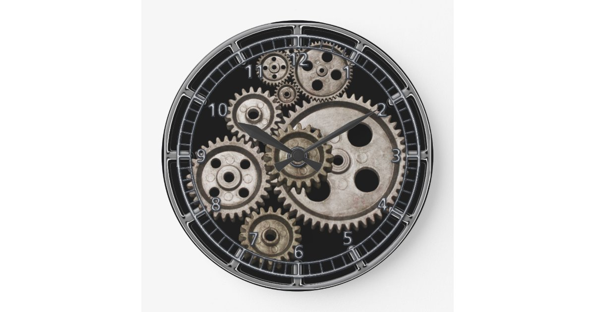 Steampunk Gears Cogs Engine Vintage Machine Clock Zazzle Com