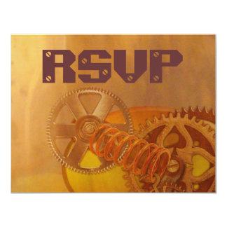 steampunk gears cogs mechanics design card