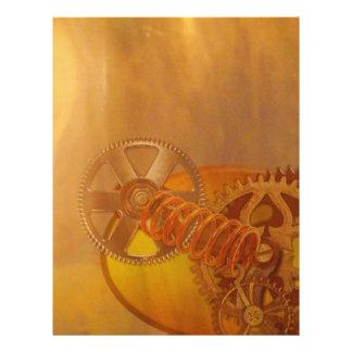 """steampunk gears cogs mechanics design 8.5"""" x 11"""" flyer"""