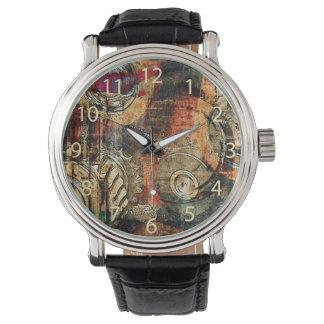steampunk gears collage wrist watch
