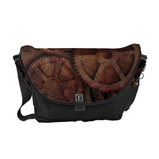 Steampunk gears courier bag