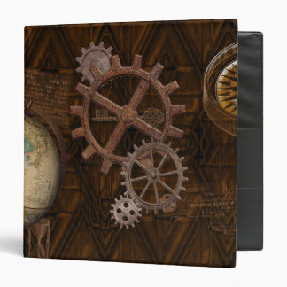 Steampunk Gears, Globe, Compass Artwork 3 Ring Binder