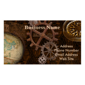 Steampunk Gears, Globe, Compass Artwork Double-Sided Standard Business Cards (Pack Of 100)