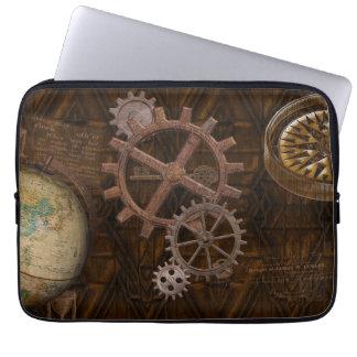 Steampunk Gears, Globe, Compass Artwork Laptop Computer Sleeve