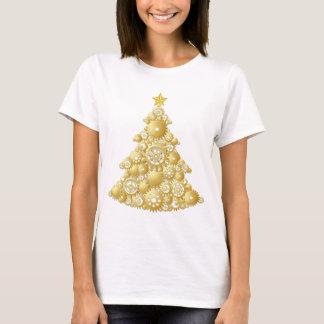 Steampunk Gears Gold Christmas Tree T-Shirt
