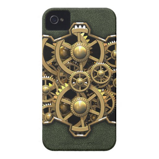 Steampunk Gears Green #1A iPhone 4 Covers