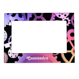 Steampunk gears in pastel colors add your name magnetic photo frame