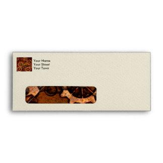 Steampunk, gears in rusty metal envelope