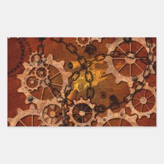 Steampunk, gears in rusty metal rectangular sticker