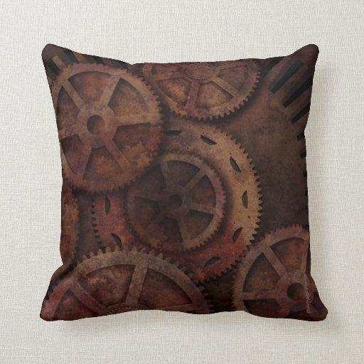Steampunk Gears Industrial Fashion Throw Pillow  Zazzle