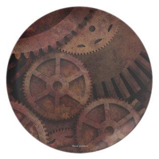 Steampunk gears melamine plate