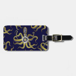 Steampunk Gears Octopus Kraken Bag Tag