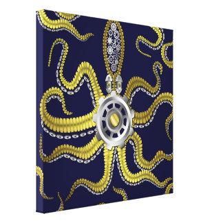 Steampunk Gears Octopus Kraken Canvas Print