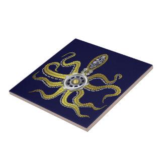 Steampunk Gears Octopus Kraken Ceramic Tile