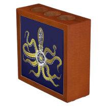 Steampunk Gears Octopus Kraken Desk Organizer