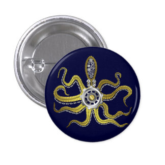 Steampunk Gears Octopus Kraken Pinback Button