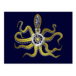 Steampunk Gears Octopus Kraken Postcard