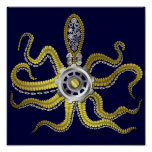 Steampunk Gears Octopus Kraken Poster