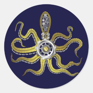 Steampunk Gears Octopus Kraken Round Stickers