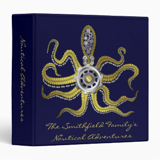 Steampunk Gears Octopus Kraken Travel 3 Ring Binder
