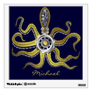 Steampunk Gears Octopus Kraken Wall Decal
