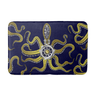 Steampunk Gears Octopus Metal Kraken Bathroom Mat