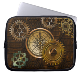 Steampunk Gears on Coppery-look Geometric Design Laptop Computer Sleeves