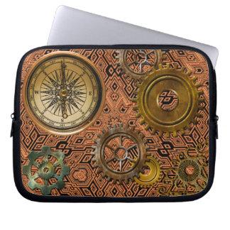 Steampunk Gears on Metal-look Geometric Design Laptop Sleeves