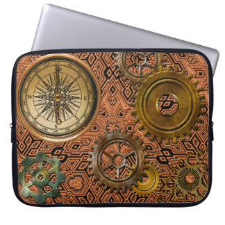 Steampunk Gears on Metal-look Geometric Design Laptop Sleeve